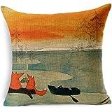 Decorative Animal Red Fox Thick Cotton Linen Throw Pillow Cover Car Cushion Pillowcase