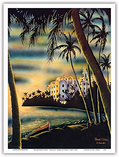Amazon Com Pacifica Island Art Waikiki Beach Sunset