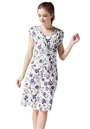 26e2a64562660 Emotion Moms Summer Flower Maternity Clothes Breastfeeding Nursing Dresses  for Pregnant Women (Medium, Blue