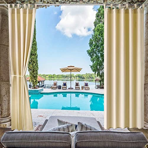 Pro Space Patio Outdoor Curtain Privacy Drape Window Treatment Solid Tab Top Panel