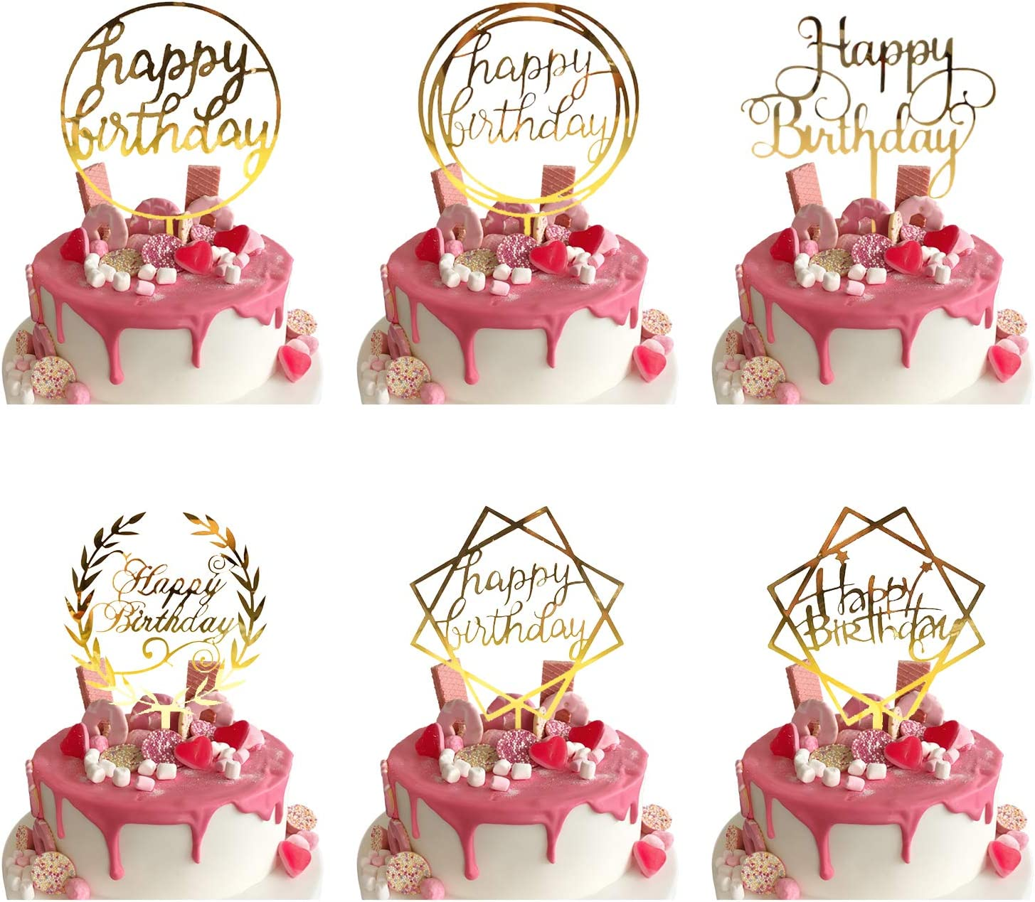 Outstanding 6 Pcs Happy Birthday Cake Toppers Gold Cake Topper For Kids Adult Funny Birthday Cards Online Fluifree Goldxyz