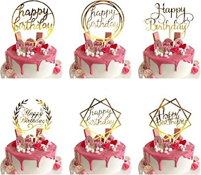 Admirable 6 Pcs Happy Birthday Cake Toppers Gold Cake Topper For Kids Adult Funny Birthday Cards Online Alyptdamsfinfo