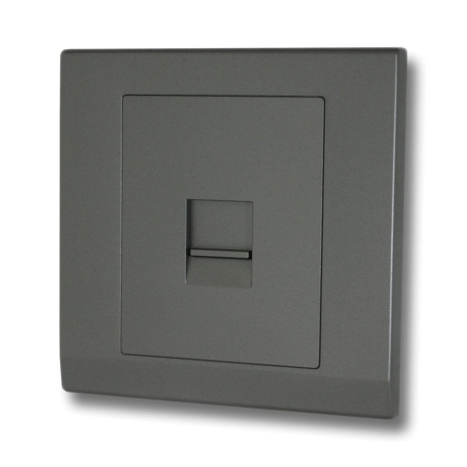 Retrotouch Simplicity 07762 Screwless Mid Grey Secondary/Slave Telephone Socket