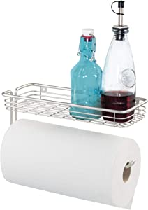 iDesign Classico Steel Wall Mounted Paper Towel Holder with Shelf Paper Towel Dispenser for Kitchen, Bathroom, Laundry Room, Garage, Office , Satin
