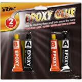 2 x EPOXY GLUE SET - SUPER STRONG HOLD IN JUST 5 MINUTES - RESIN & HARDENER - USEFUL TO BOND GLASS / CERAMICS / FABRIC / METALS / PLASTICS - MULTI-PURPOSE SET IDEAL TO KEEP IN TOOL BOX