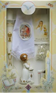 SFI New Girls First Holy Communion Complete Candle Gift Set Keepsake Figurine in English Rosary Boxed
