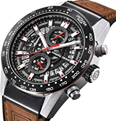 Mens Watches Brown Leather Analog Chronograph Quartz Watch Business Dress Sport Wristwatch for Men