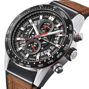 07f49bbb4006 Reloj analógico de Cuarzo para Hombre de Piel marrón con cronógrafo y Reloj  de Pulsera para Hombres  Amazon.es  Relojes