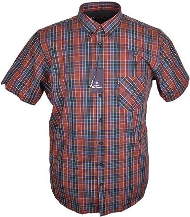 Ben Sherman Fashion Check Short Sleeve Cotton Shirt 3XL Cinnamon: Amazon.es: Ropa y accesorios