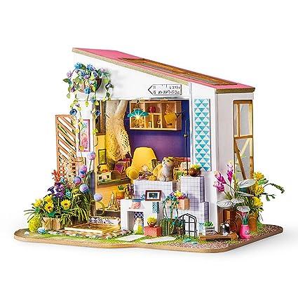 KP3.17 ocho de madera Utensilios de cocina de casa de muñecas