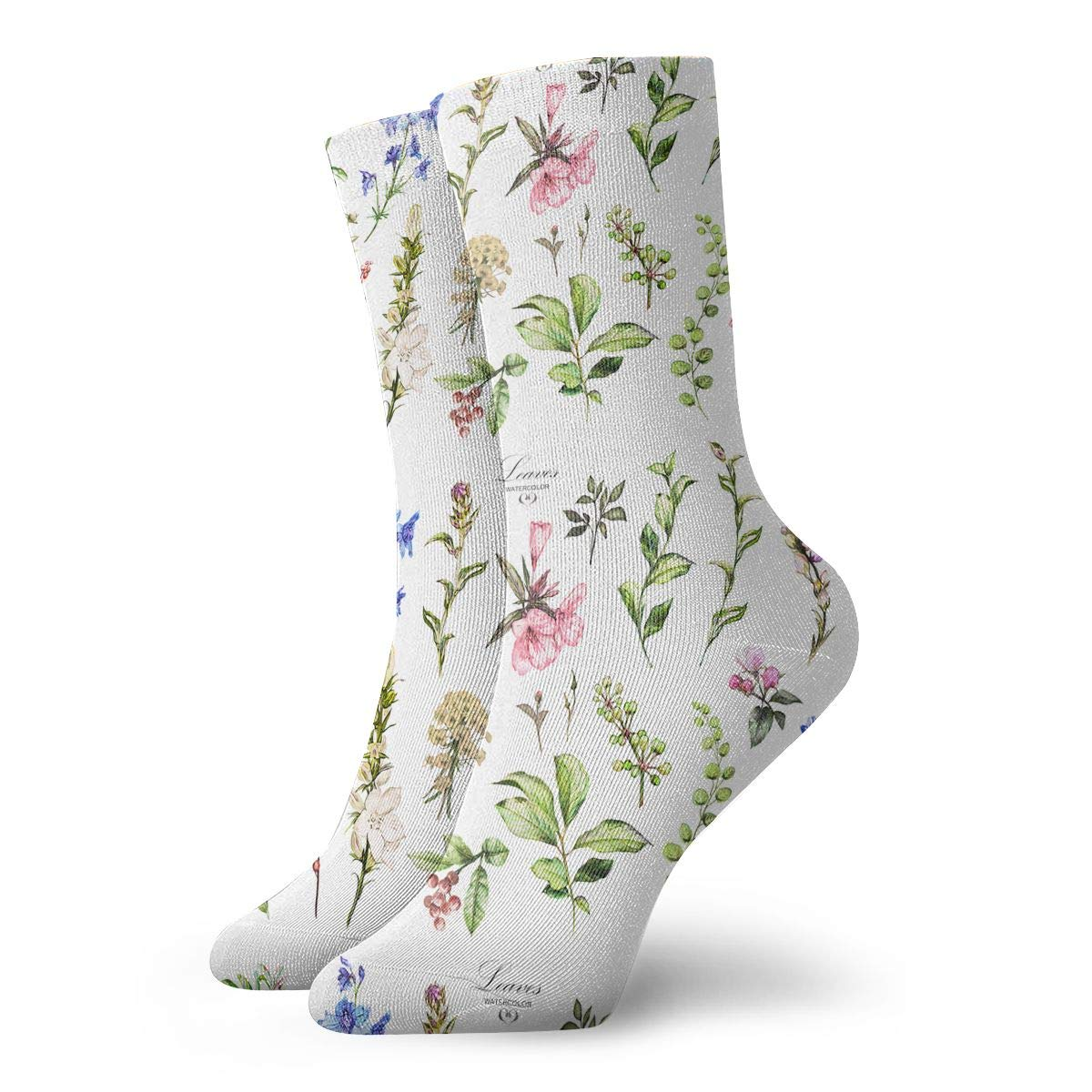 Watercolor Trees And Flowers Fashion Dress Socks Short Socks Leisure Travel 11.8 Inch