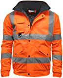 Mens Hi Visibility Two Tone Safety Quilted Bomber Jacket