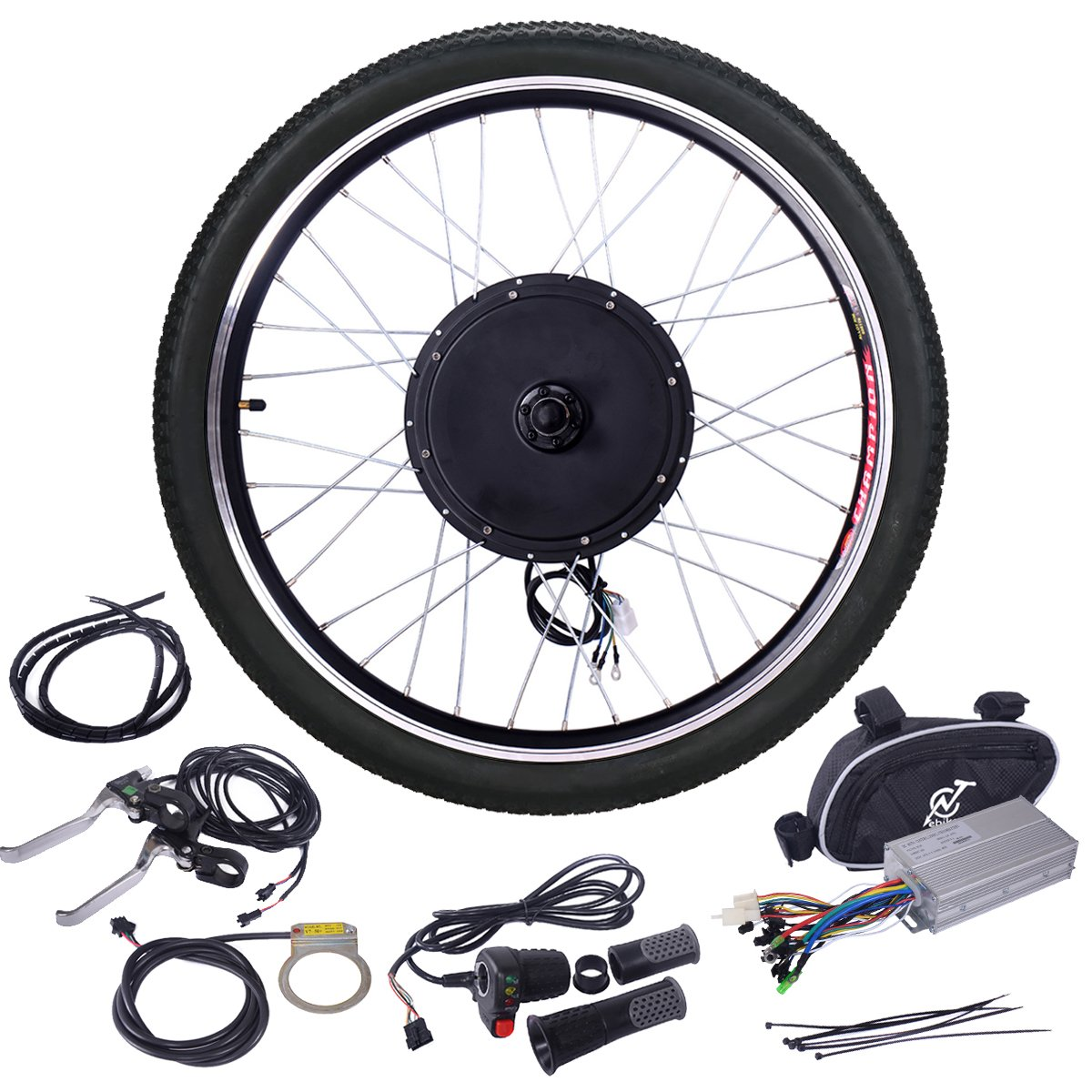 JAXPETY 48V 1000W Electric Bicycle Cycle E Bike 26'' Front Wheel Ebike Hub Motor Conversion Kit Hub Motor Wheel by JAXPETY