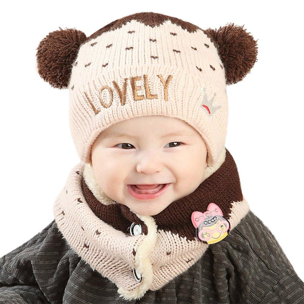 Vovotrade® Cappello di Cappello dei Capretti delle Ragazze dei Neonati delle Ragazze + Sciarpa 2Pcs (Beige) Vovotrade12