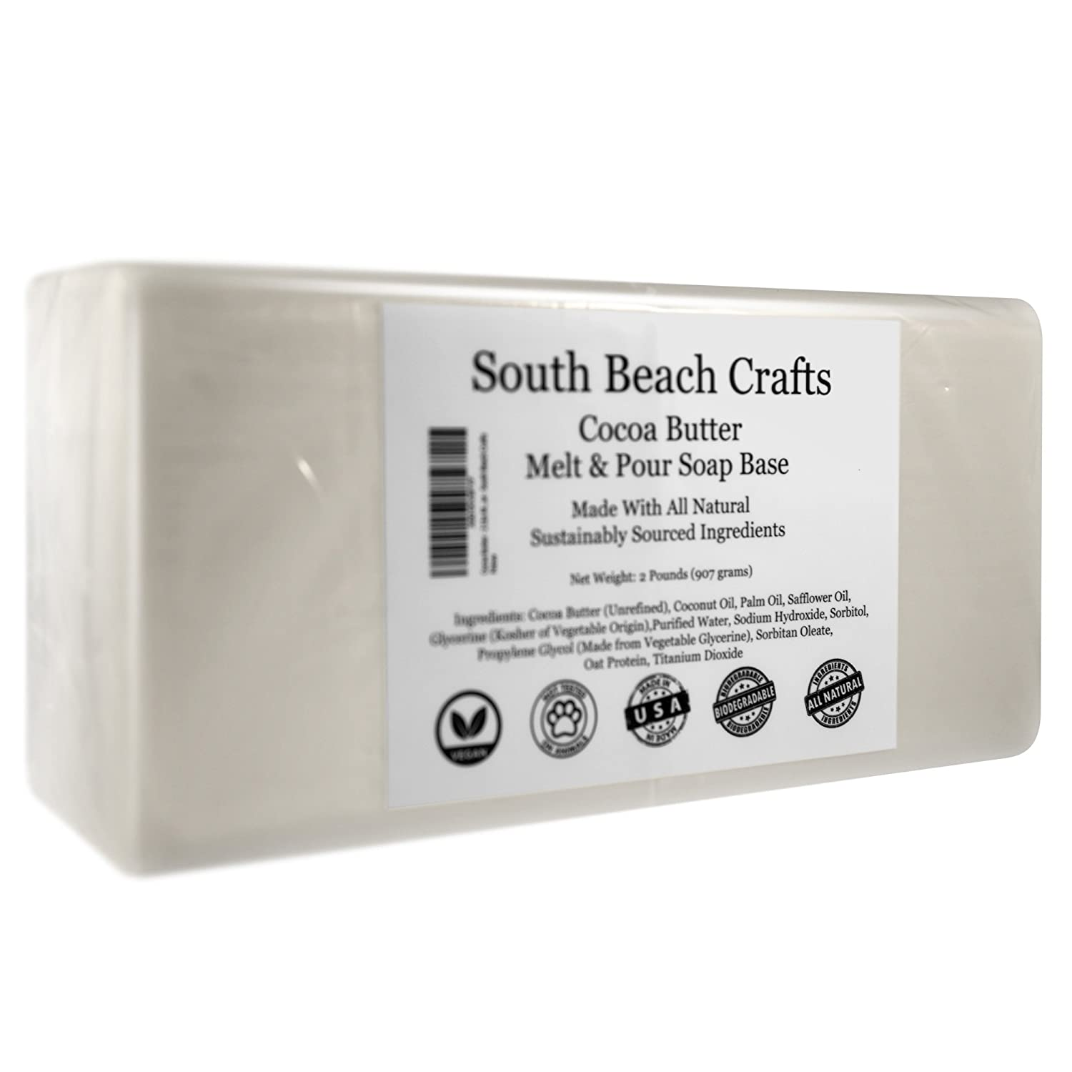 Cocoa Butter 2 Lbs Melt and Pour Soap Base South Beach Crafts
