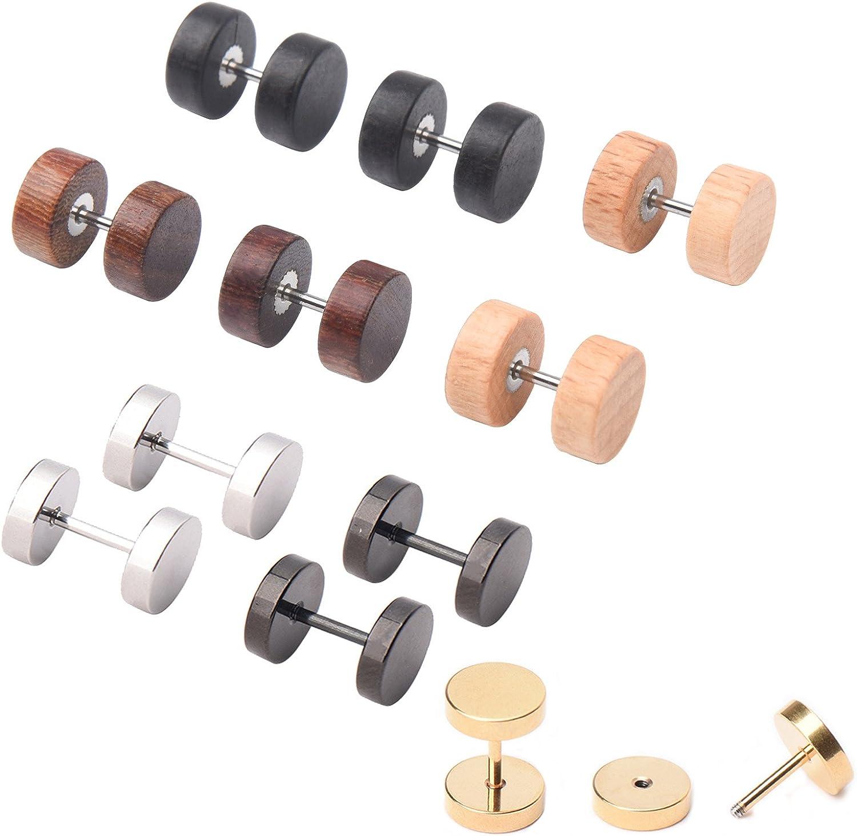 Milakoo 6 Pairs Wood Stud Earrings for Men Women Ear Piercing Ear Plugs Tunnel 18G