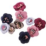 Segolike 10 Pieces Multicolor Sewing Fabric Flower Embellishment Applique Decoration for DIY Clothes Hair Bow #5