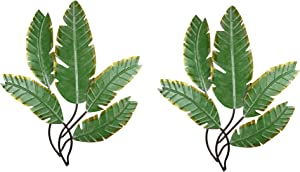 Chesapeake Bay Ltd Set of 2 Green 23.5 Inch Metal Palm Leaf Clusters Wall Hanging Sculptures Decor