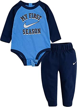 Nike Baby Boy 2 Piece My First Season Cotton Long Sleeve Bodysuit & French Terry Pants Active Set