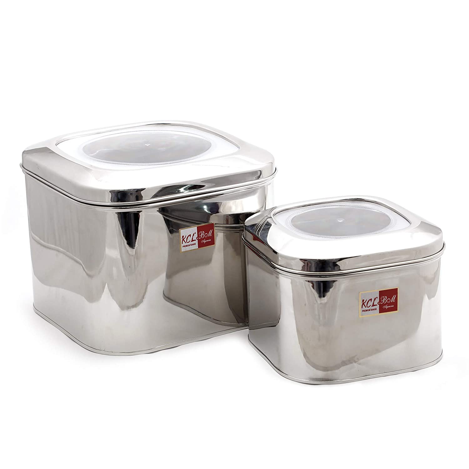 57eb250be01 Buy KCL Stainless Steel Cubic Tin with Unbreakable Lid for Dry Grains  Storage - Set of 2 - Capacity 4.5KG   2.5KG Online at Low Prices in India -  Amazon.in