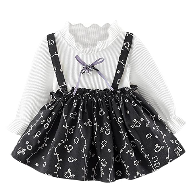3e7aec94cab5 Baby Girl Party Flower Dress Clothing Kids One-Piece Long Sleeve Princess  Dress Flower Print Clothes Party Princess Dresses 0-24 Months:  Amazon.co.uk: ...