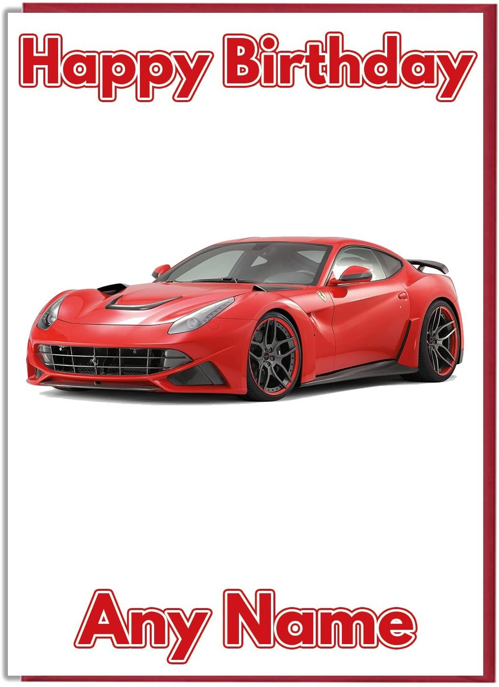Sports Car Red Ferrari Premium Ivory Personalised Birthday Card Amazon De Bürobedarf Schreibwaren