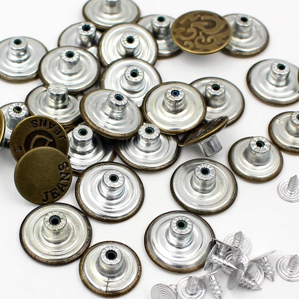 UTENEW Metal Jeans Buttons Bronze Snap Button Replacement Kit 50 Pieces, No Sew Pants Buttons Accessories