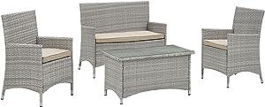 Modway Bridge Wicker Rattan 4-Piece Outdoor Patio Furniture Set in Light Gray Beige