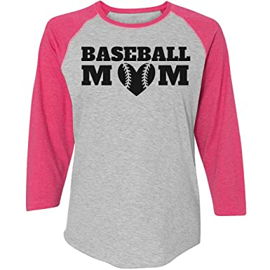 b24fb2c9 Amazon.com: Customized Girl Cute Baseball Mom Shirts: Ladies Relaxed Fit  3/4 Sleeve Raglan Tee: Clothing