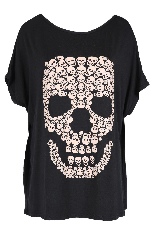 Oops Outlet Damen Halloween Party Schlabber Lagenlook Top Damen  Gespenstisch Schädel Fledermausärmel Unheimlich Locker Sitzend T-shirt -  Dunkelgrau, ...