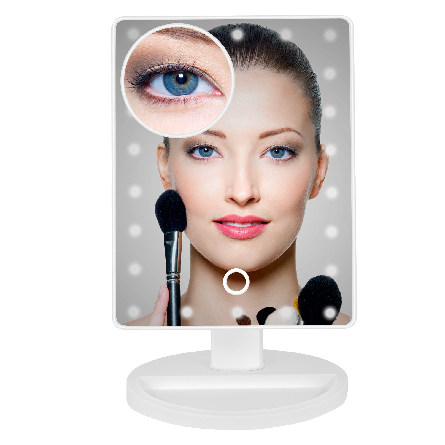 Bew 22LED lights & Touch Screen Dimming Lighted Make up Mirror, Illuminated Magnifying Mirror for Women