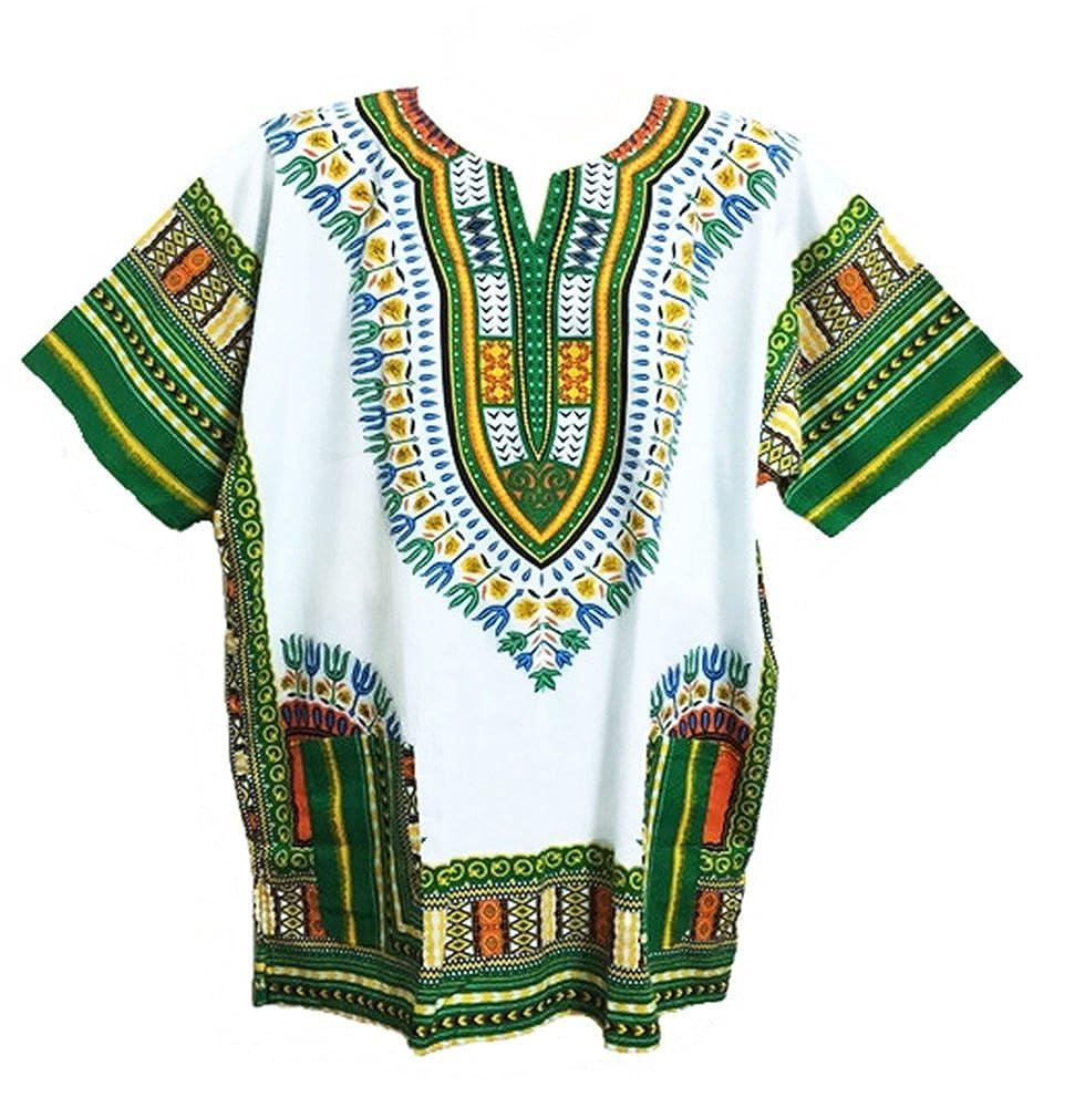 Vipada Handmade Men's Dashiki Shirt African Shirt Caftan Kaftan Ethic Large Size (White and Green)