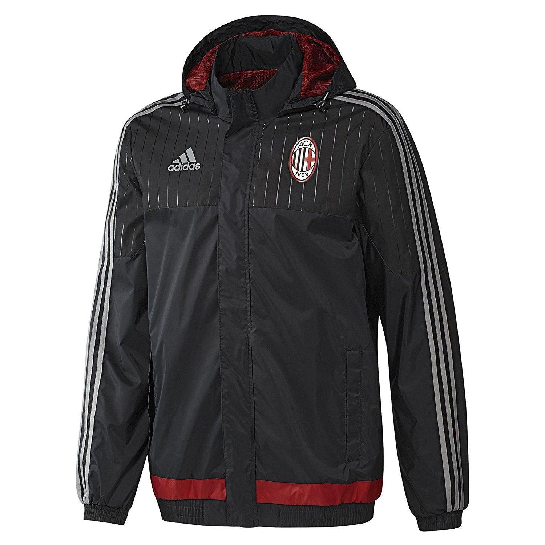 Adidas Herren AC Milan Fußball-Trainingsjacke, wetterfest, Schwarz