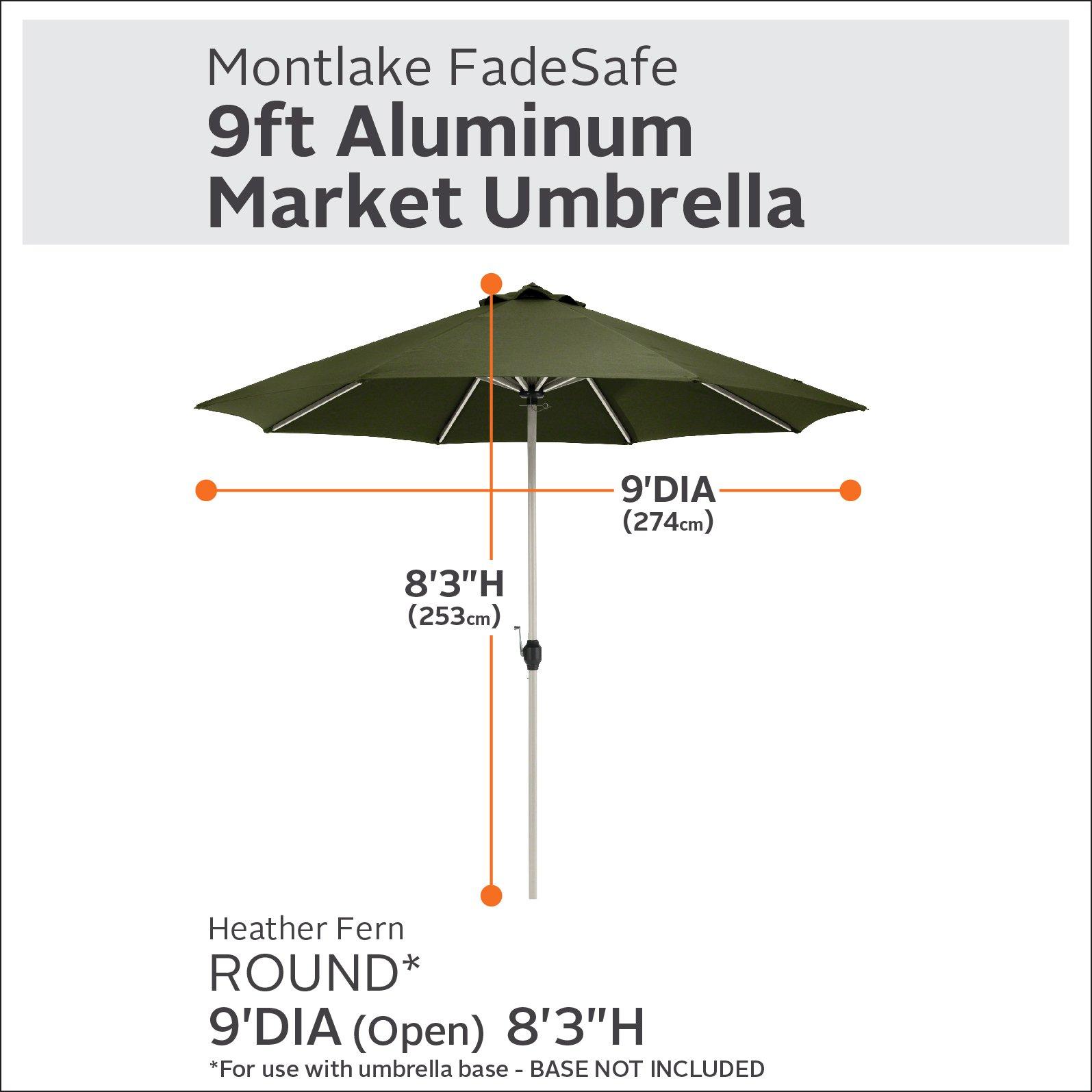 Classic Accessories Montlake FadeSafe 9-Foot Round Aluminum Patio Umbrella, Heather Fern by Classic Accessories (Image #1)