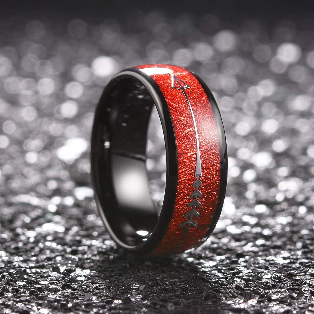 King Will Nature 8mm Tungsten Carbide Ring Inlay with Arrow Wedding Rings Dome Edge