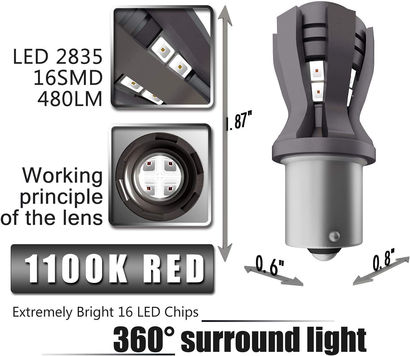Simdevanma Newest Extremely Bright LED Bulbs Reverse Lights,Brake Lights,Tail Lights,Rv lightsBEST Beam Pattern T20, Red