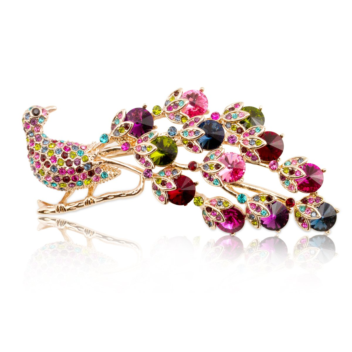 Fashion Plaza Vintage Style Peacock Brooch Pin Multi Color Crystals BR114