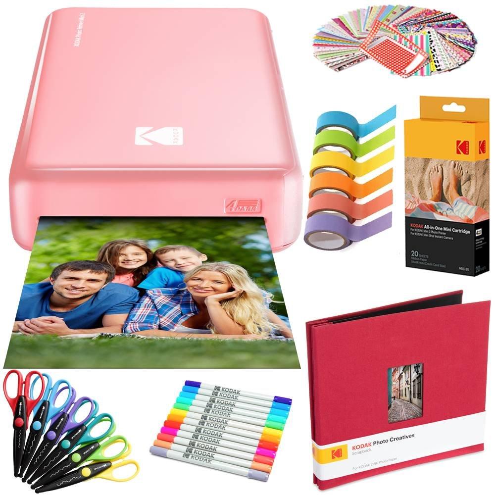 Kodak Mini2 Instant Photo Printer (Pink) Art Bundle + Paper (20 Sheets) + 8x8 Cloth Scrapbook + 12 Twin Tip Markers + 100 Border Stickers + 6 Decorative Scissors + Washi Tape by KODAK