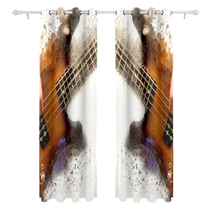 JSTEL Abstract Electric Guitar Curtains Drapes Panels Darkening Blackout  Grommet Room Divider For Patio Window Sliding