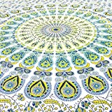 JHC's Twin White Yellow Indian Hippie Mandala Tapestry Art Bedspread Beach Dorm Bohemian