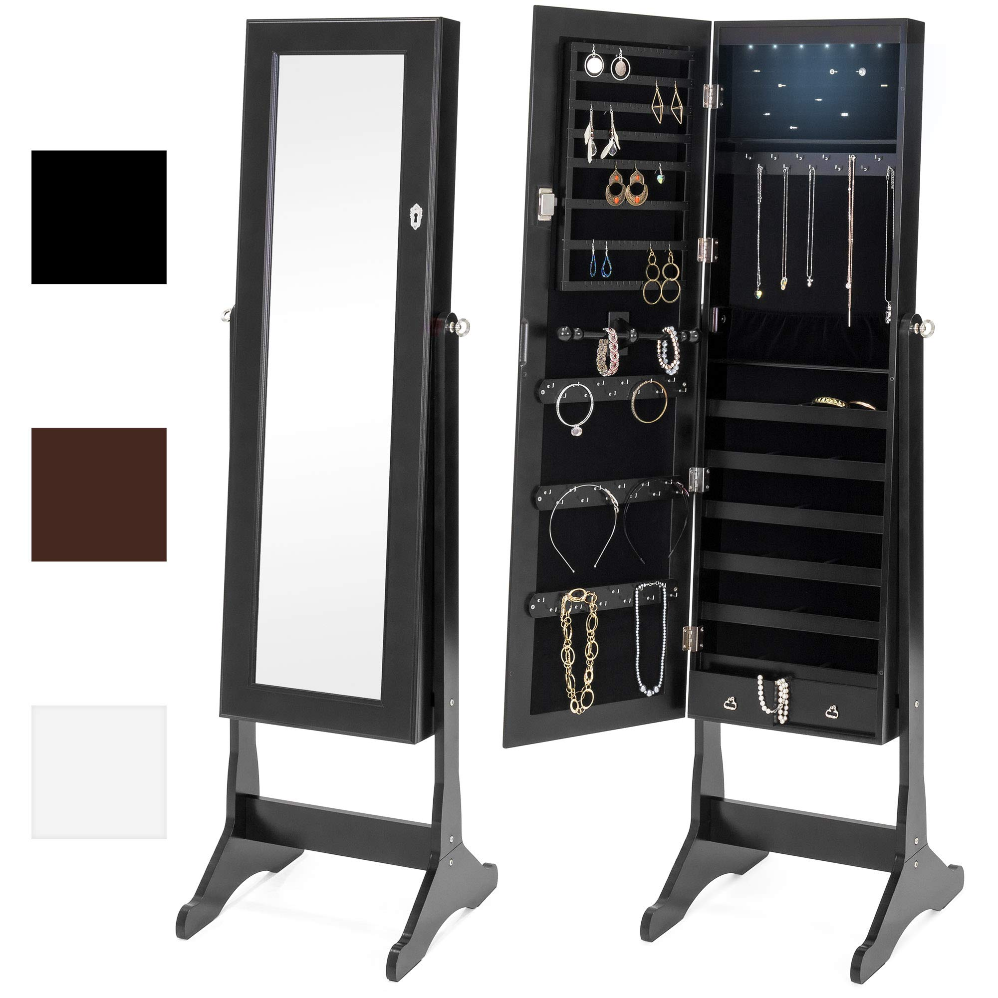 Best Choice Products 6-Tier Full Length Standing Mirrored Lockable Jewelry Storage Organizer Cabinet Armoire with 6 LED Interior Lights, 3 Angle Adjustments, Velvet Lining, Black