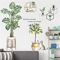 RAILONCH Muursticker bladeren groen muurschildering tropische planten, potplant muursticker, woonkamer slaapkamer hal…
