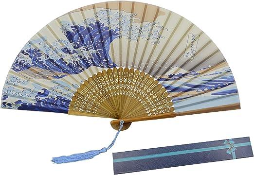 la decoraci/ón de la pared de la casa la boda abanico de KAKOO de patr/ón del oleaje del Mar del estilo mordeno para bailar o Lave tres ceremonias