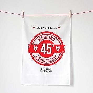 Toalla de té personalizable para 45 aniversario de boda, regalo de aniversario de zafiro, regalo de Kepster 45 años casada a medida: Amazon.es: Hogar