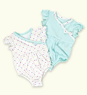 cdd7039d3cb9c 2 Pack - Petit Bebe Pure Cotton Assorted Bow Rompers  Amazon.co.uk  Clothing