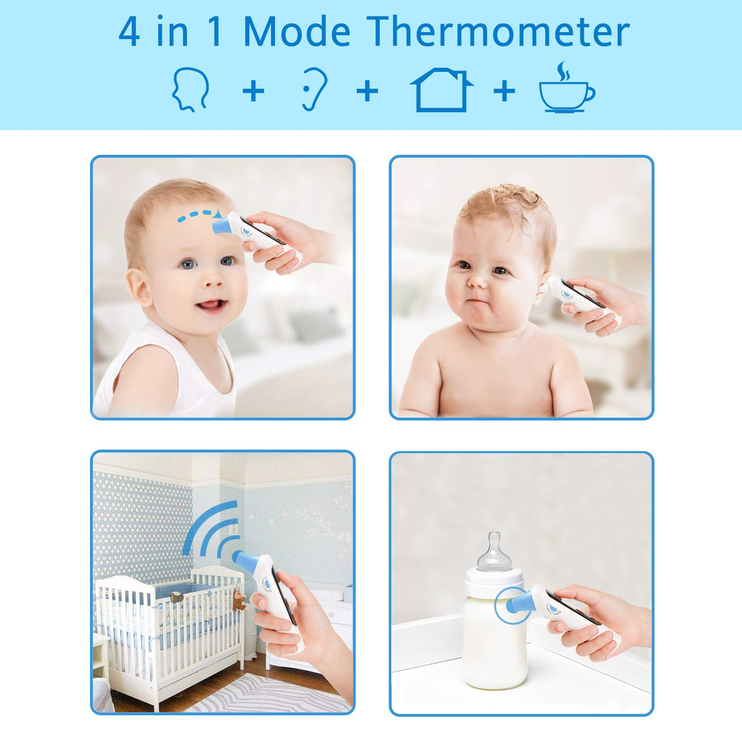 Cumbor Baby Thermometer -Forehead and Ear Thermometer for Fever -Medical Digital Infrared Thermometer for Kid, Infant, Toddler and Adult,hygienic Lens Filters Included,FDA Approved by Cumbor (Image #3)