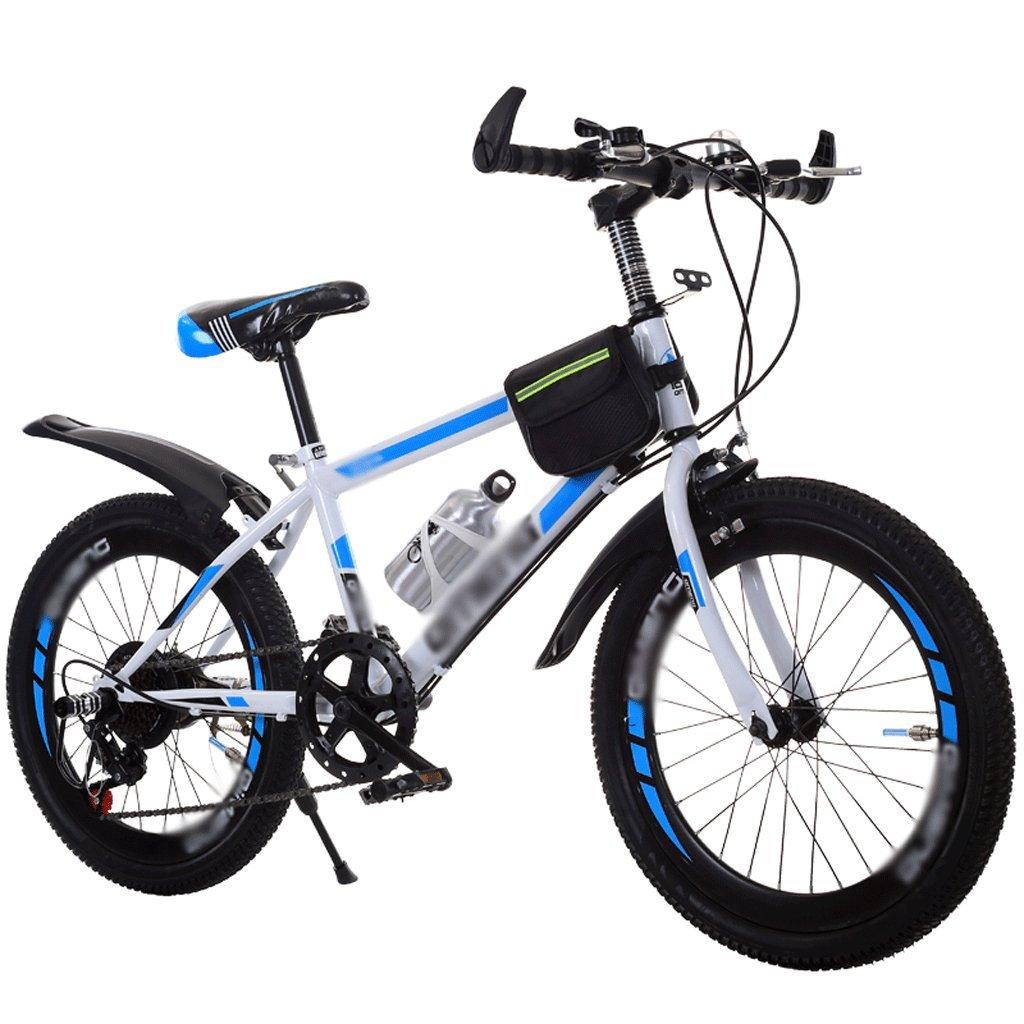 自転車 子供のスピード自転車ガールボーイ18-20インチの小学生マウンテンバイク (色 : 青) B07DPNPVTG 青 青