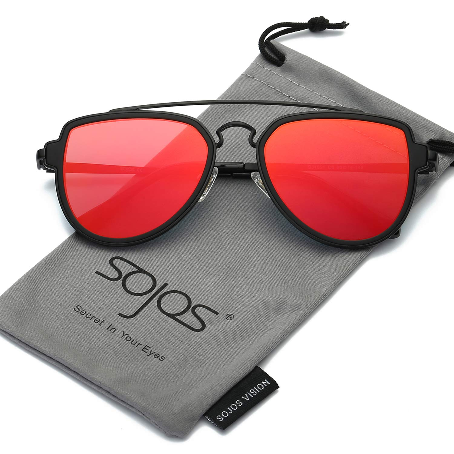 SojoS Fashion Aviator Unisex Sunglasses Flat Mirrored Lens Double Bridge SJ1051 with Matte Black Frame/Red Mirrored Lens