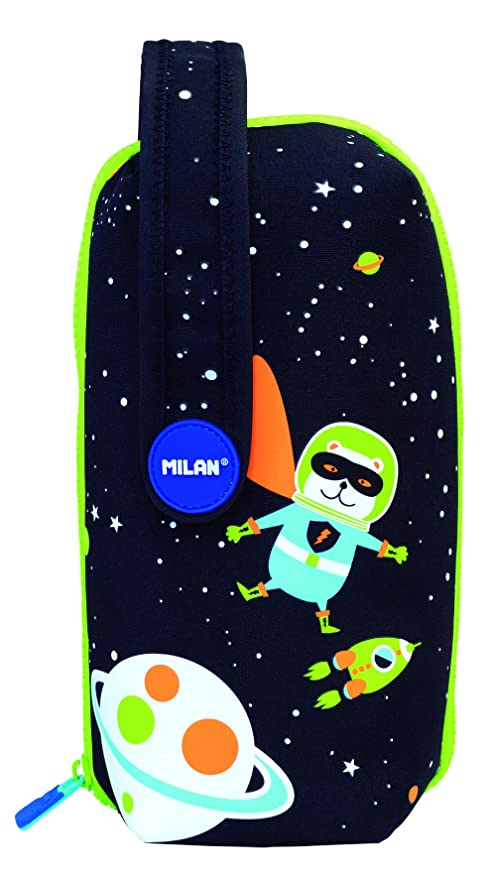 Milan Kit 4 Estuches con Contenido Super Heroes Space 1 Estuches, 22 cm, Azul