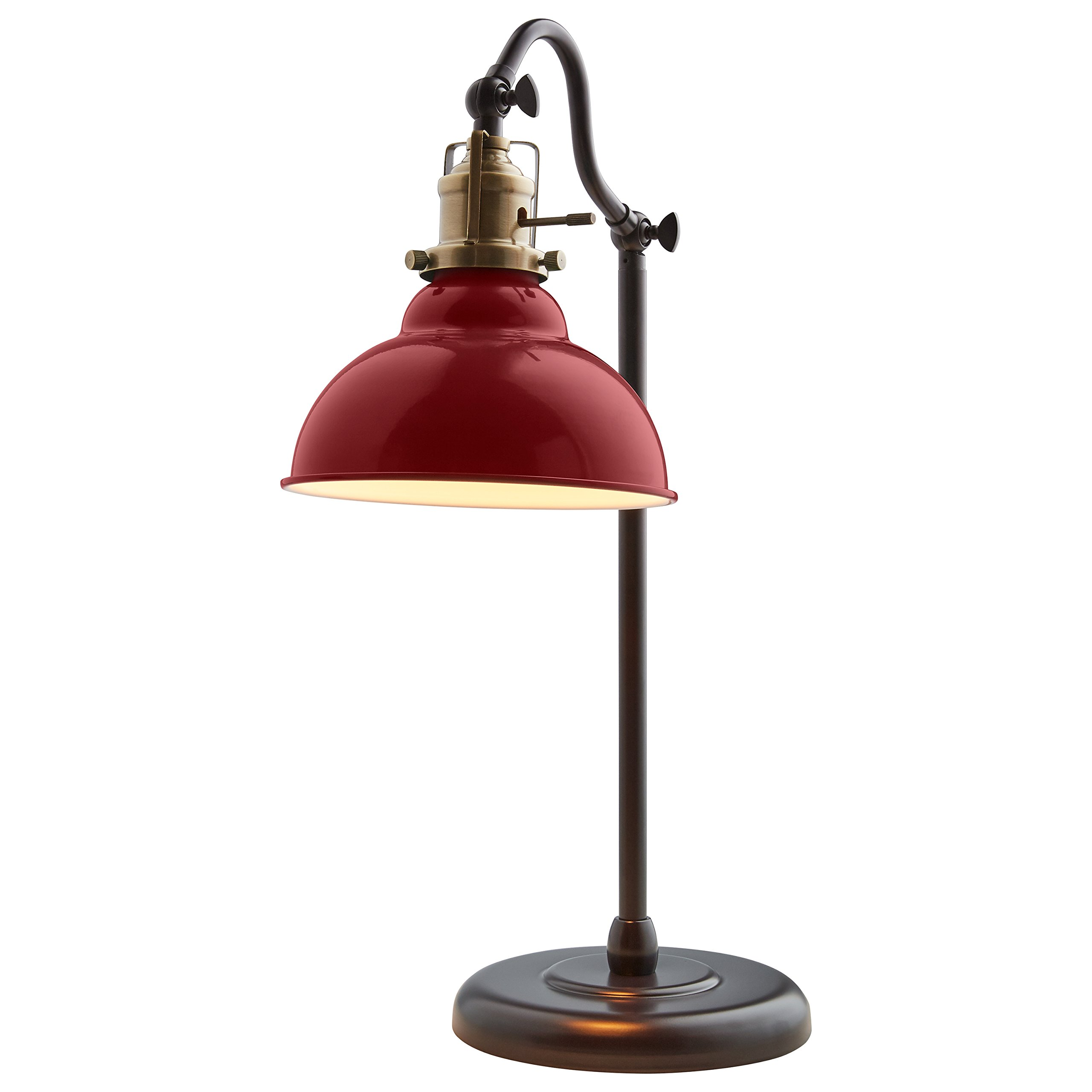 Stone & Beam Walters Vintage Task Lamp with Bulb, 19.9''H, Red